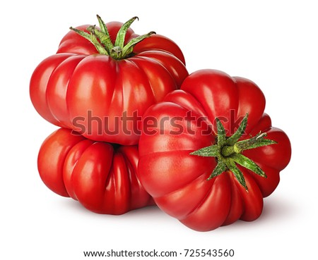 Three tomatoes next to each other isolated on white background Zdjęcia stock ©