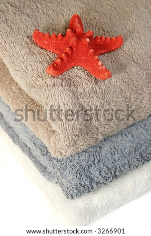 Three towels, isolated on white