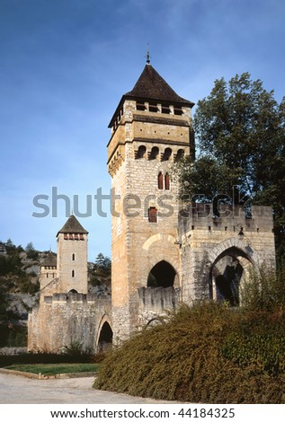 Three towers of the XIV century pont Valentre in Cahors in Quercy, Dordogne