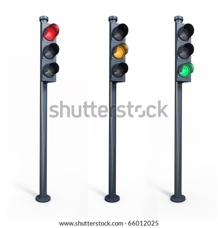 three traffic lights (clipping path)