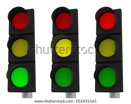 Three traffic lights showing green, yellow and red isolated on white background with clipping paths