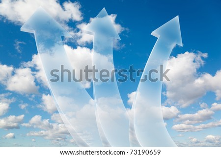 three transparent arrows on White, fluffy clouds in blue sky collage