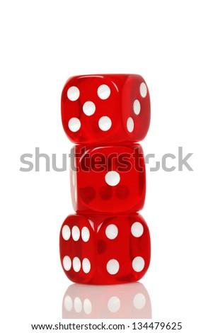 three transparent dice on white