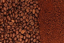 Three types of coffee. Coffee beans, ground coffee and instant coffee