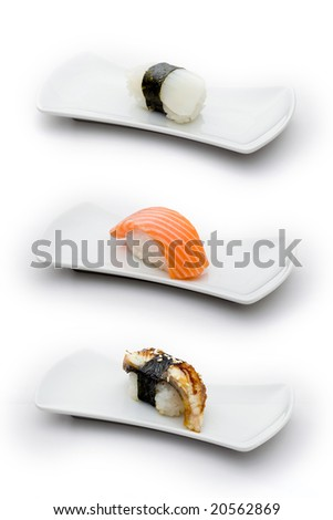 Three types of sushi: calamaro, salmon and eel