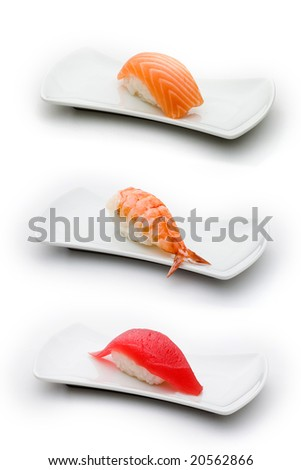 Three types of sushi: salmon, shrimp and tuna