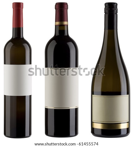 Three unlabeled wine bottles isolated with clipping path