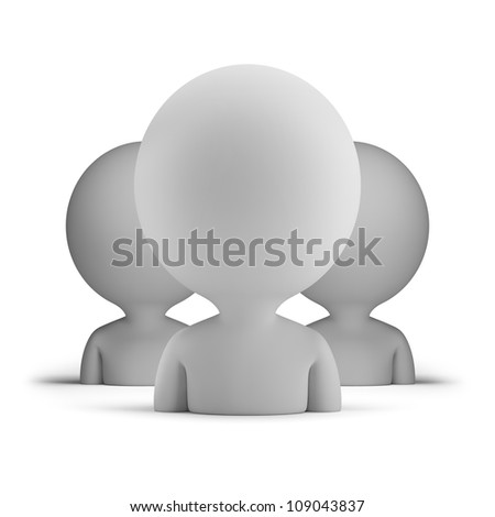 three users. 3d small person. 3d image. Isolated white background.