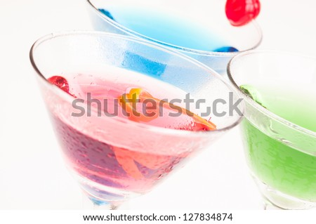 Three variation of sweet Martini cocktails close up