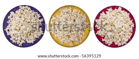 Three Vibrant Bowls of Popcorn.  Isolated on White with a Clipping Path.