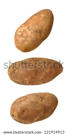 three views of potatoes isolated on white background - stock photo