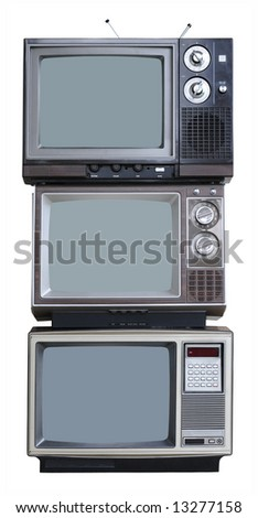 Three Vintage TVs - vertical stack