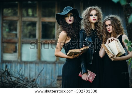 three vintage women as witches  ...