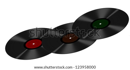Three vinyl LPs in a curve, isolated over white backgrounb