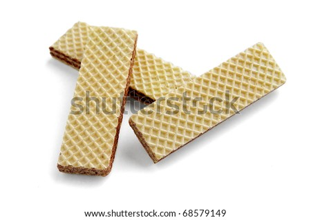 Three wafers close up it is isolated on a white background