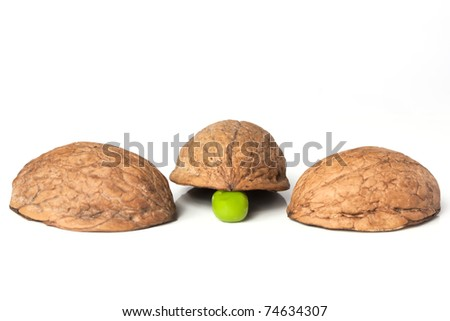 Three walnut shells and a pea confidence trick
