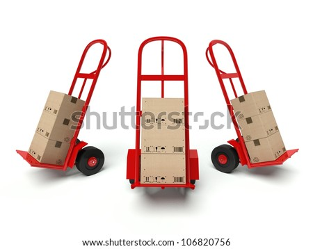 Three warehouse hand trucks with cardboard boxes isolated on white background