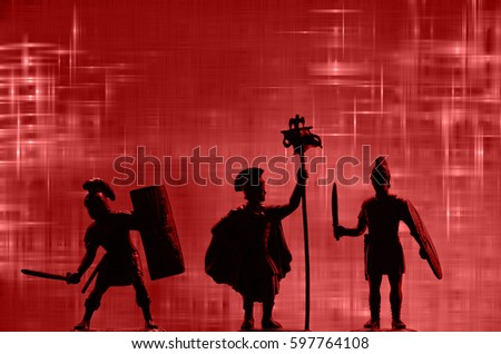 Three warriors-legionnaires of the Roman Empire (the reign of Octavian Augustus), standing against red-white background with texture of intersecting lines, ancient Roman civilization, creative work