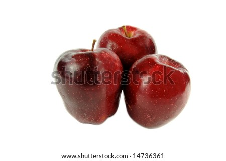 Three Washington Delicious Apples Isolated On White