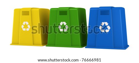 three waste containers in different colors with recycling symbol (3d render) - stock photo