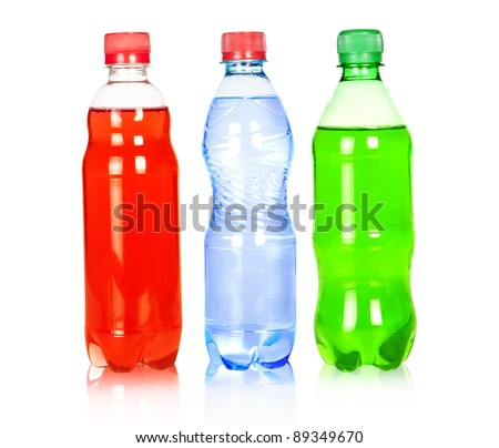 Three water bottle isolated on white background
