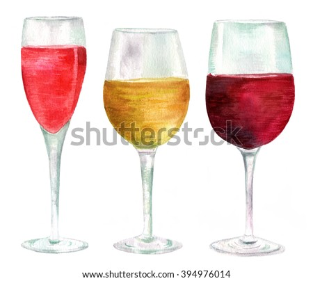 Three watercolor wine glasses (with sparkling rose wine, white and red wine), hand drawn in a retro style on white background