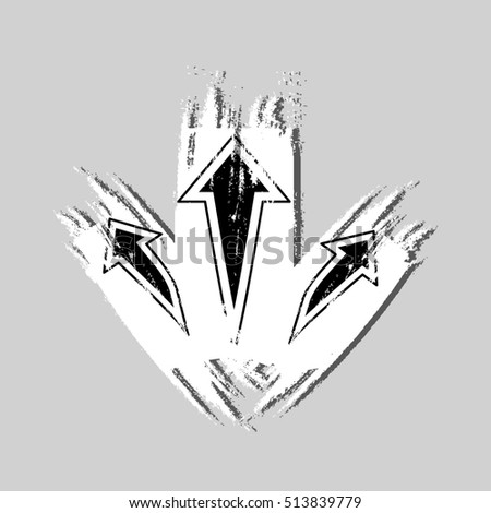 three-way direction arrow isolated on gray backround. three-way direction arrow sign. road direction. road direction icon. Grunge brush texture. illustration #513839779