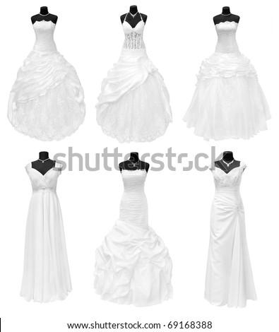 three wedding dresses isolated on white