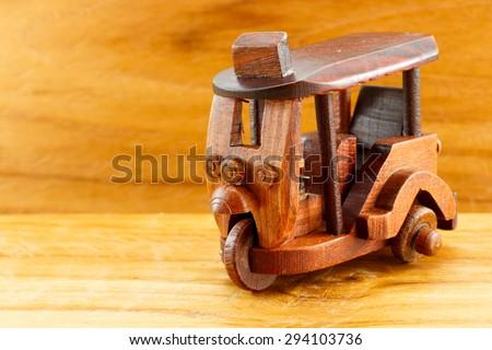 Three wheel motorcycle wood toy