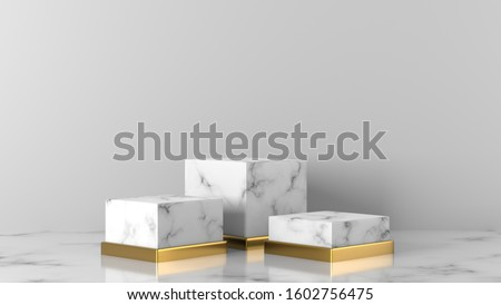 three white and gold Marble cube, square box podium in white background. concept scene stage showcase for new product, promotion sale, banner, presentation, cosmetic. with copy space - 3D rendering