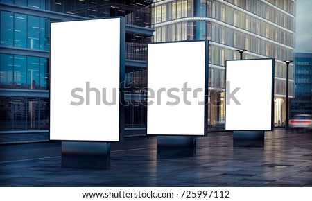 three white billboard advertising on street 3d rendering