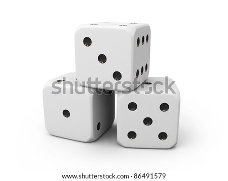 Three white casino dice isolated on white background