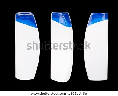 Three white plastic containers with a blue lids for a shampoo isolated on black