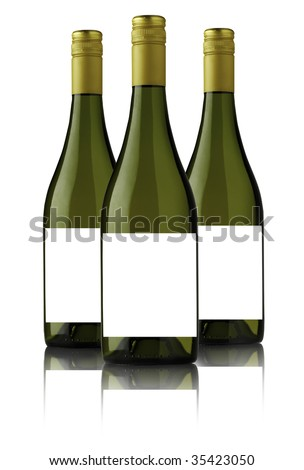 THREE WHITE WINE BOTTLES FOR  LABEL DESIGN