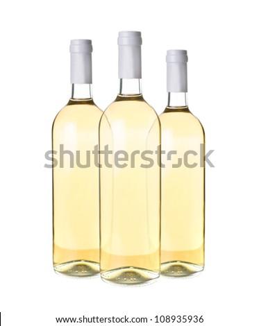 three white wine bottles on white background