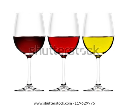 three wine glasses in backlight on white background