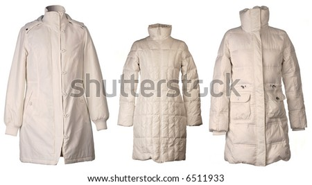 Three winter jacket isolated on white background