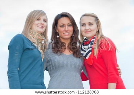 Three Women Chatting Outdoor