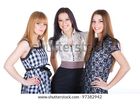 three women isolated on white