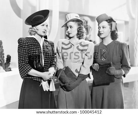 Three women standing side by side Zdjęcia stock ©