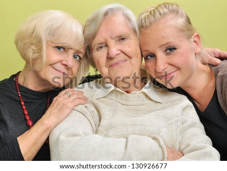 Three women three generations Happy and smiling family MANY OTHER PHOTOS FROM THIS SERIES IN MY PORTFOLIO