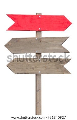 Three wooden arrows - Direction sign. Isolated on white background. #751840927