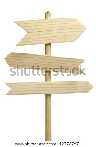 Three wooden arrows sign isolated on white - stock photo