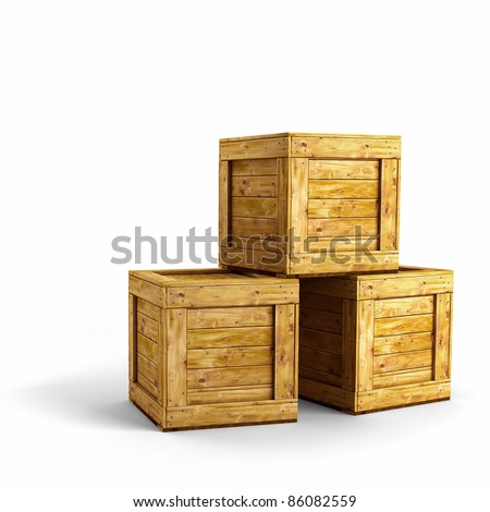 Three wooden crates over white background