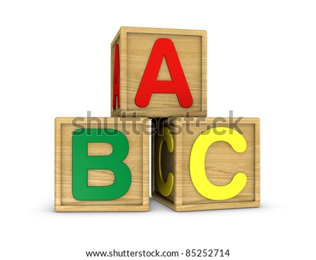 three wooden cubes with a, b, c letters (3d render)