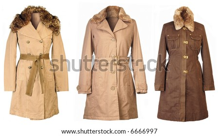 Three woolen coats isolated on white background - stock photo