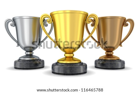 Three world cup (done in 3d, isolated) - stock photo