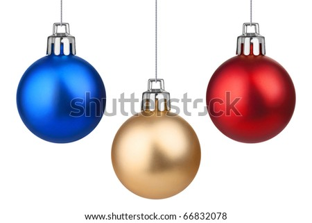 Three Xmas baubles. Isolated on white.