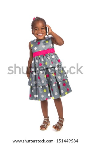 Three Years Old Adorable African American Girl Talking on Cellphone Isolated White Background