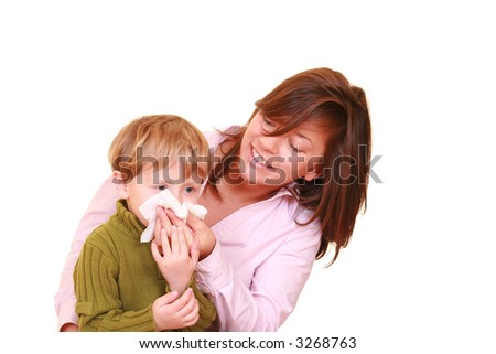 three years old boy and his mother isolated on white